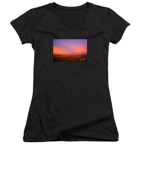 Sunset In Wyoming Women's V-Neck (Athletic Fit)