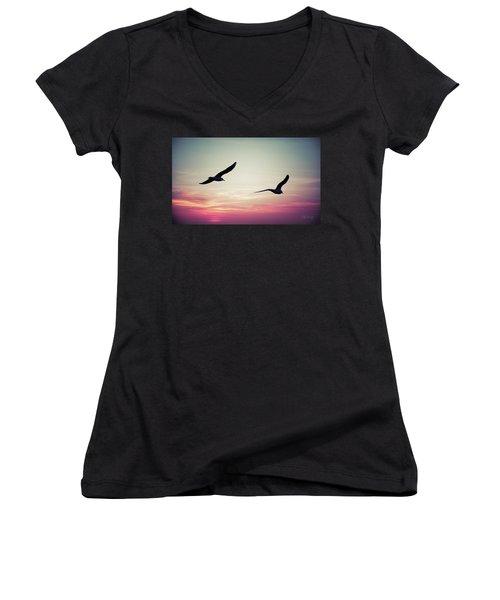 Sunset Women's V-Neck T-Shirt (Junior Cut) by Joseph Westrupp