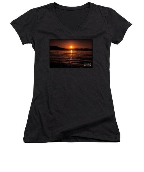 Sunset Lake 810pm Textured Women's V-Neck