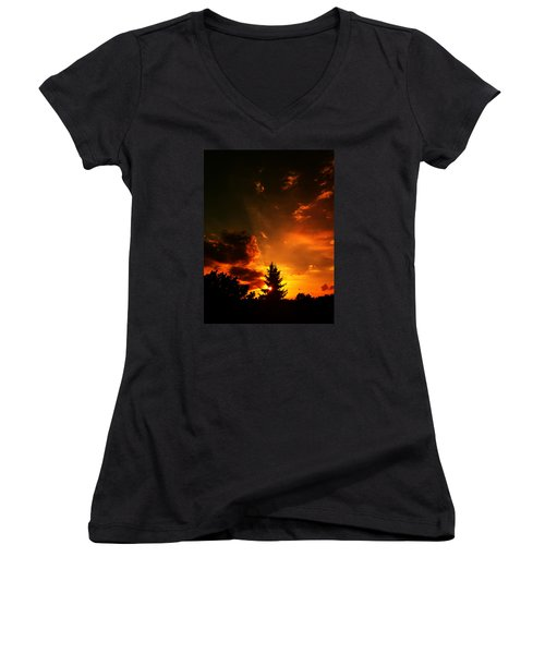 Sunset Madness Women's V-Neck T-Shirt (Junior Cut) by Flavien Gillet