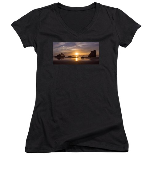 Sunset On Bandon Beach Women's V-Neck