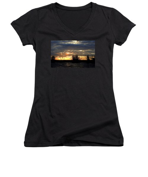 Women's V-Neck T-Shirt (Junior Cut) featuring the photograph Sunset On Chobe River by Betty-Anne McDonald