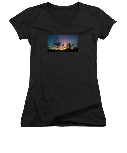 Sunset On Hunton Lane #12 Women's V-Neck T-Shirt (Junior Cut) by Carlee Ojeda