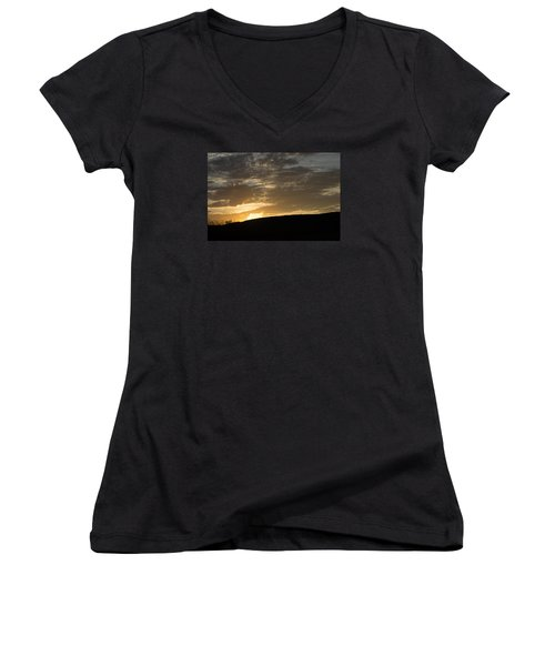 Sunset On Hunton Lane #3 Women's V-Neck T-Shirt (Junior Cut) by Carlee Ojeda