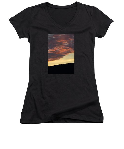 Sunset On Hunton Lane #8 Women's V-Neck T-Shirt (Junior Cut) by Carlee Ojeda
