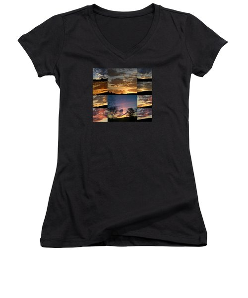 Sunset On Hunton Lane Women's V-Neck T-Shirt (Junior Cut) by Carlee Ojeda