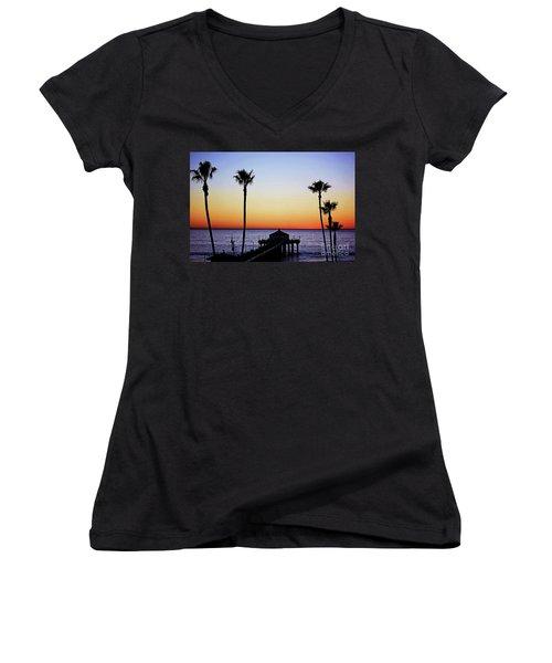 Sunset On Manhattan Beach Pier Women's V-Neck (Athletic Fit)