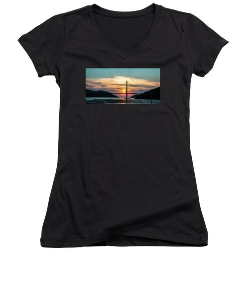 Sunset On The Bridge Women's V-Neck T-Shirt (Junior Cut) by Hyuntae Kim