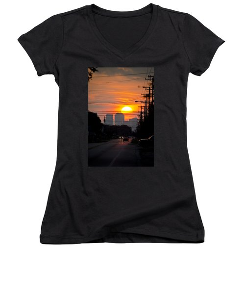 Sunset On The City Women's V-Neck (Athletic Fit)