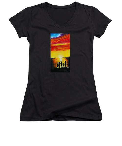 Sunset On The Great Salt Lake Women's V-Neck T-Shirt (Junior Cut) by Sherril Porter