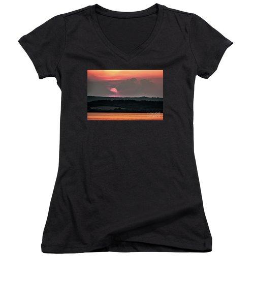 Sunset On The Lake Velence Paint Women's V-Neck