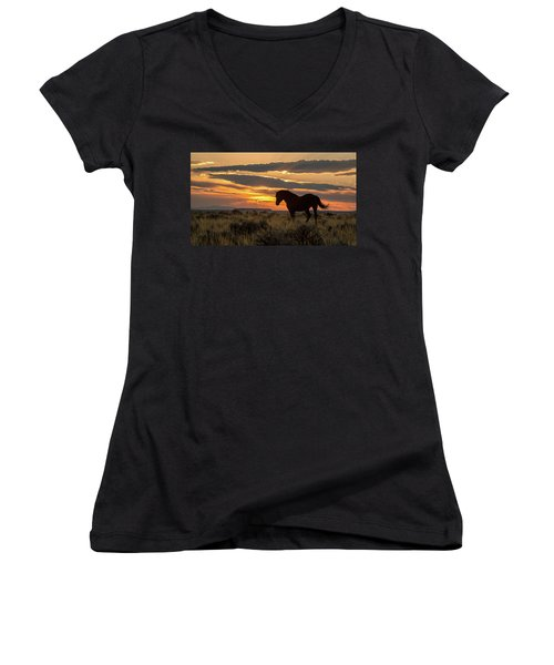 Sunset On The Mustang Women's V-Neck T-Shirt (Junior Cut) by Jack Bell