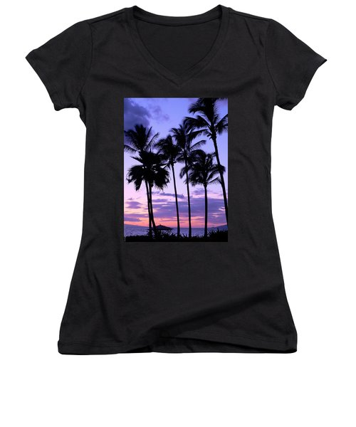 Women's V-Neck T-Shirt (Junior Cut) featuring the photograph Sunset On The Palms by Debbie Karnes