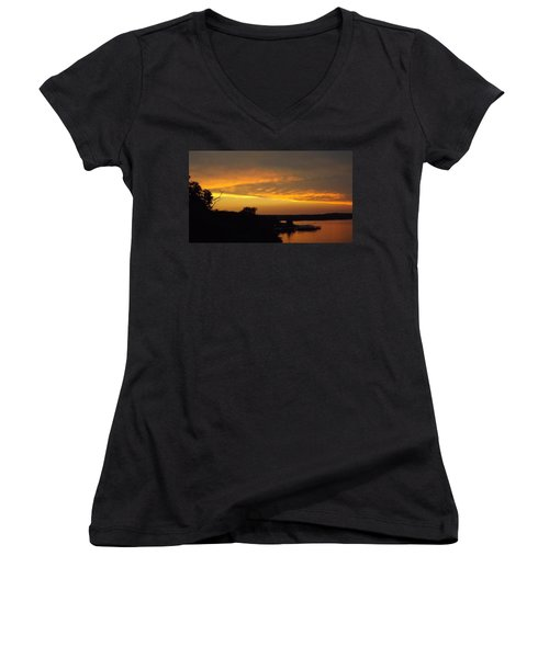 Sunset On The Shore  Women's V-Neck (Athletic Fit)