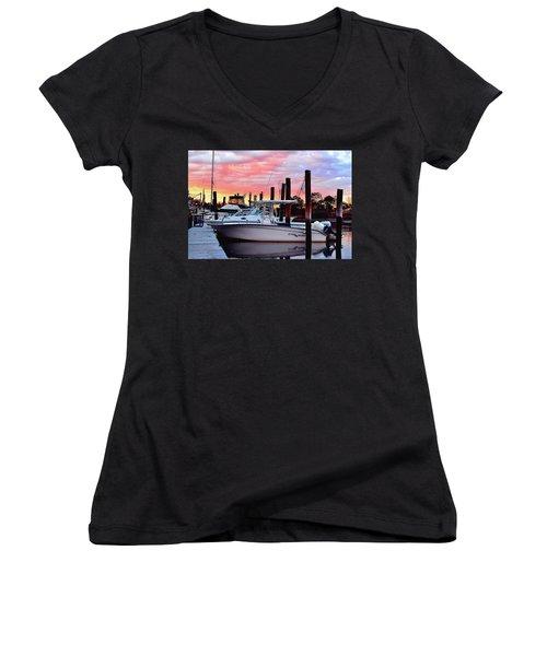 Sunset On The Water Women's V-Neck T-Shirt