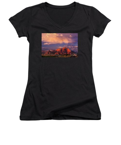 Sunset On West Temple Zion National Park Women's V-Neck T-Shirt (Junior Cut) by Dave Welling