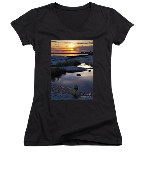Sunset Over Boothbay Harbor Maine  -23095-23099 Women's V-Neck