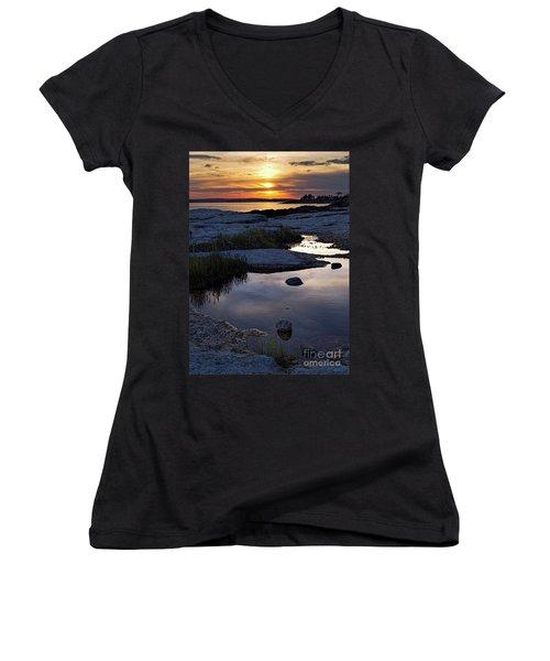 Sunset Over Boothbay Harbor Maine  -23095-23099 Women's V-Neck