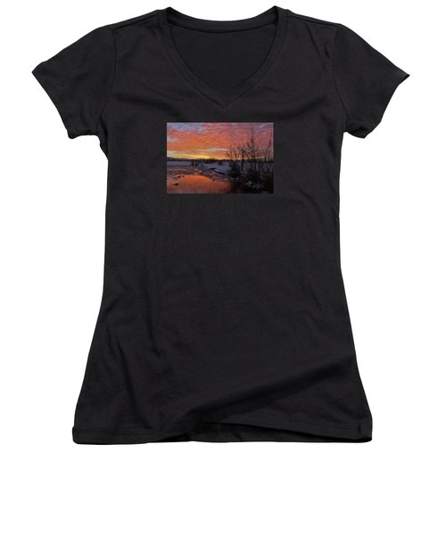 Sunset Over Bountiful Lake Women's V-Neck T-Shirt (Junior Cut) by Utah Images