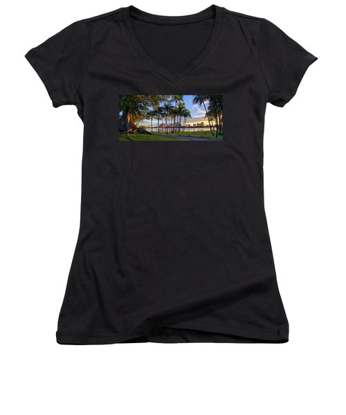 Sunset Over Downtown West Palm Beach From Palm Beach Island Women's V-Neck