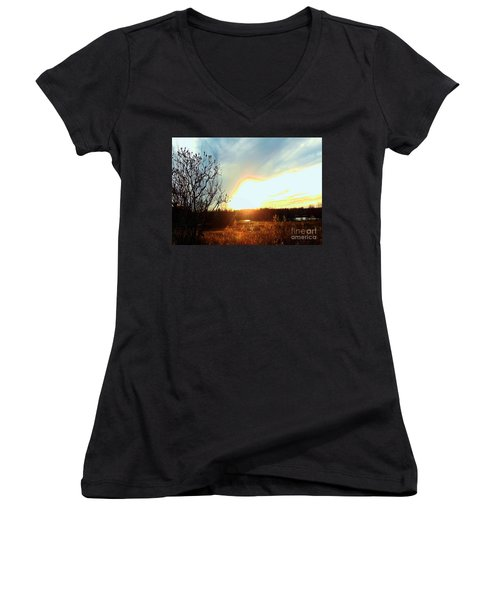 Sunset Over Fields Women's V-Neck