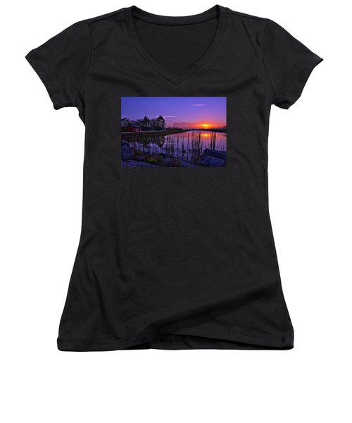 Sunset Over Hungryland Wildlife Management Area Women's V-Neck