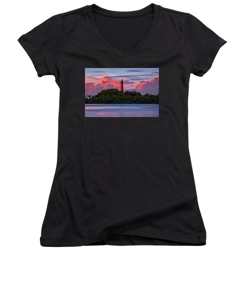 Women's V-Neck T-Shirt (Junior Cut) featuring the photograph Sunset Over Jupiter Lighthouse, Florida by Justin Kelefas