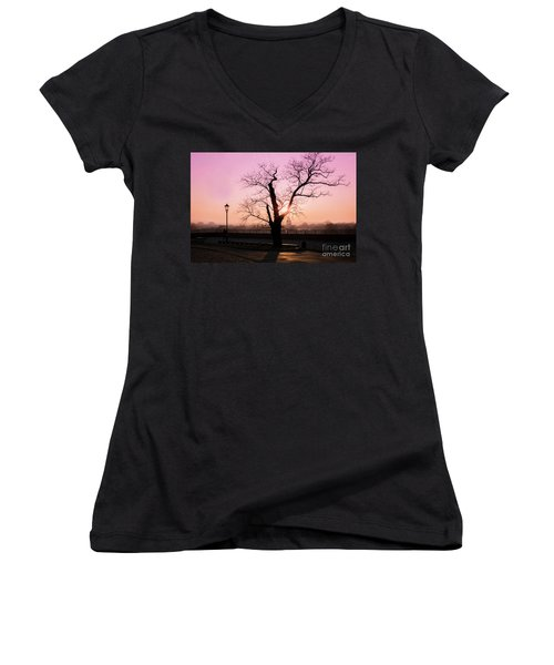 Women's V-Neck T-Shirt (Junior Cut) featuring the photograph Sunset Over Krakow by Juli Scalzi