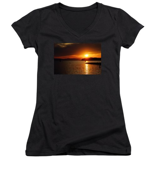 Sunset Over Lake Champlain Women's V-Neck