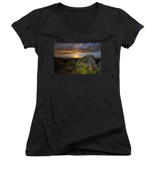 Sunset Over Marsh Women's V-Neck T-Shirt (Junior Cut) by Joe Belanger