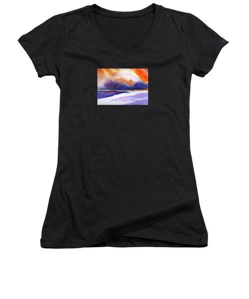 Sunset Over Marsh Women's V-Neck T-Shirt (Junior Cut) by Yolanda Koh