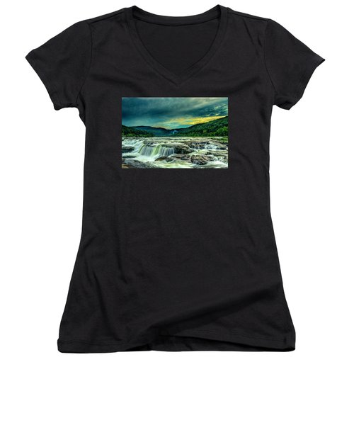 Sunset Over Sandstone Falls Women's V-Neck