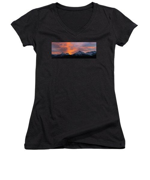Sunset Over Tantalus Range Panorama Women's V-Neck (Athletic Fit)
