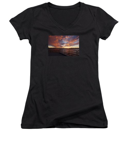 Sunset Over The Manasquan Inlet 2 Women's V-Neck (Athletic Fit)