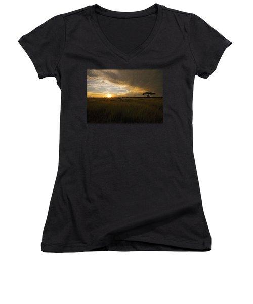 sunset over the Serengeti plains Women's V-Neck T-Shirt