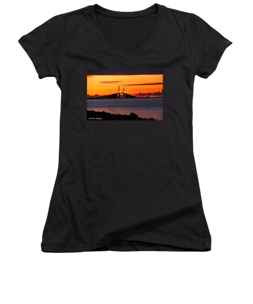 Sunset Over The Skyway Bridge Women's V-Neck (Athletic Fit)