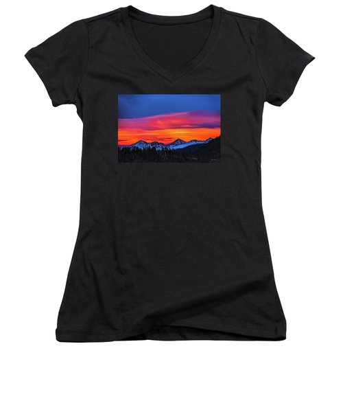 Sunset Over Torreys And Grays Peaks Women's V-Neck (Athletic Fit)
