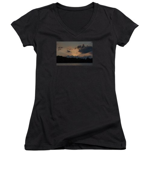 Sunset Over Wilderness Point Women's V-Neck T-Shirt (Junior Cut) by Gary Eason