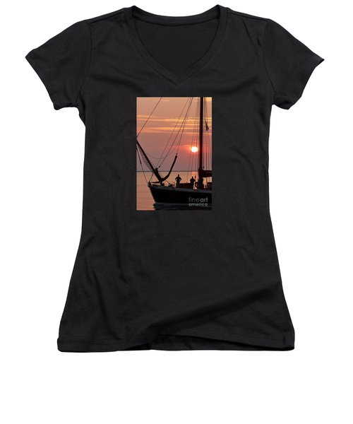 Sunset Sail Women's V-Neck (Athletic Fit)
