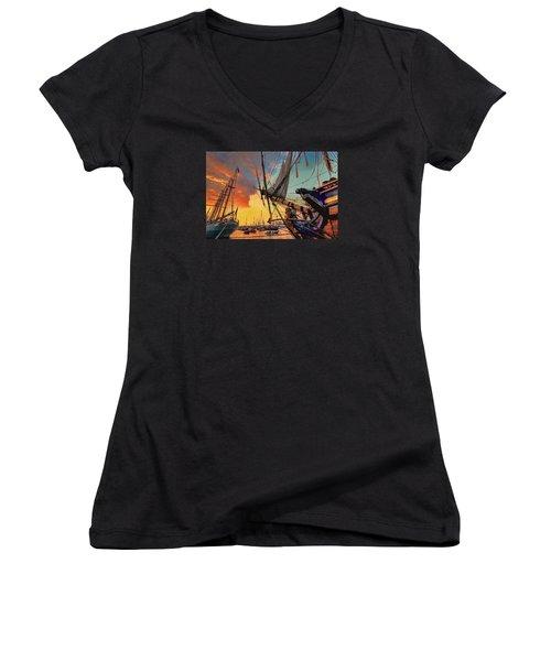 Sunset Sail Women's V-Neck T-Shirt (Junior Cut) by Nadia Sanowar