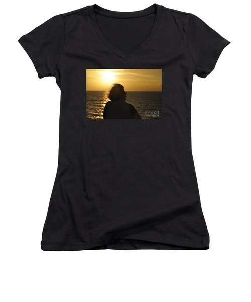 Women's V-Neck T-Shirt (Junior Cut) featuring the photograph Sunset Silhouette by John Black