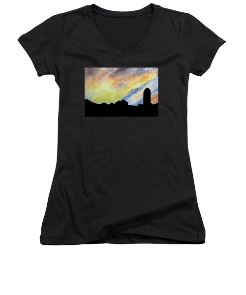 Sunset Silhouetted Farmstead Women's V-Neck T-Shirt (Junior Cut) by R Kyllo