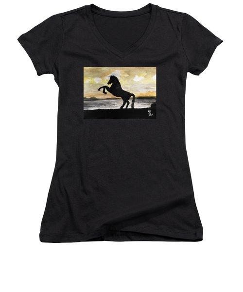 Sunset Stallion Women's V-Neck T-Shirt (Junior Cut) by Carole Robins