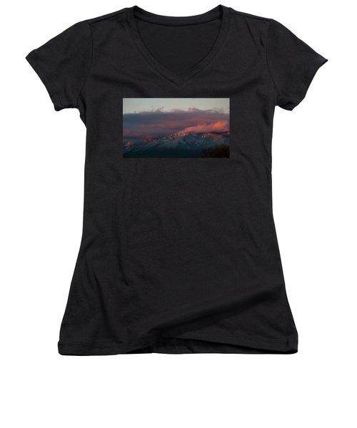 Sunset Storm On The Sangre De Cristos Women's V-Neck (Athletic Fit)