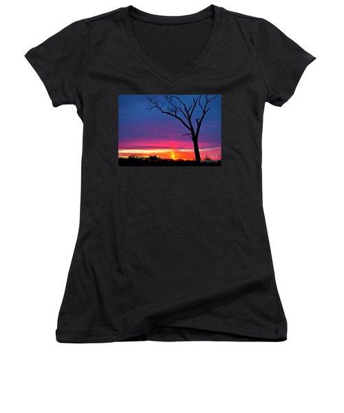 Sunset Sundog  Women's V-Neck T-Shirt (Junior Cut) by Ricky L Jones