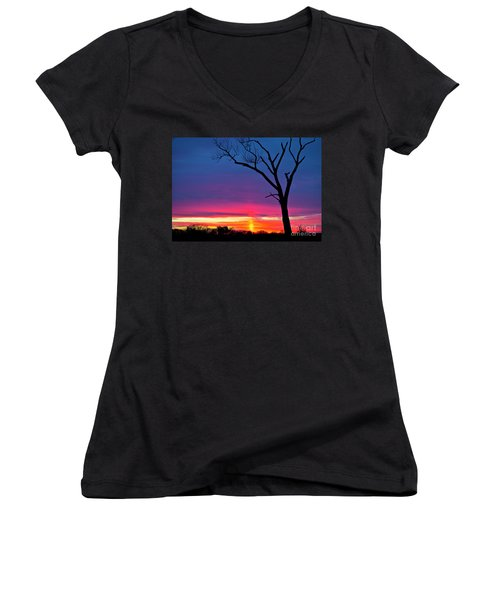 Sunset Sundog  Women's V-Neck T-Shirt