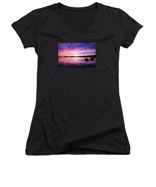 Sunset Supper Women's V-Neck T-Shirt (Junior Cut) by Sean Sarsfield