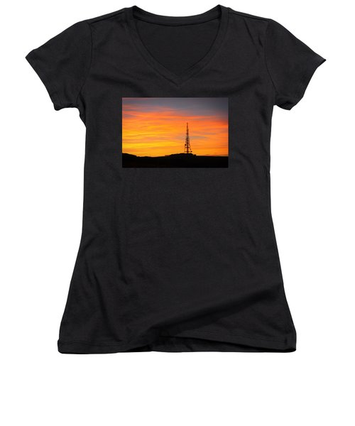 Sunset Tower Women's V-Neck T-Shirt (Junior Cut) by RKAB Works