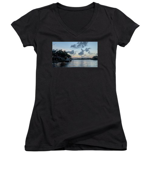Sunset Tropical Canal Women's V-Neck (Athletic Fit)