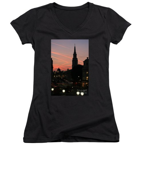 Women's V-Neck T-Shirt (Junior Cut) featuring the photograph Sunset View From Charing Cross  by Paula Guttilla